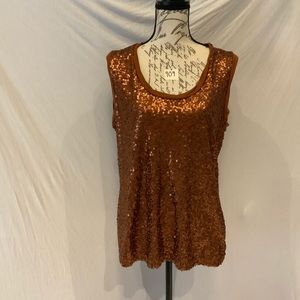 NWT-New York & Company sequined bronze tank top